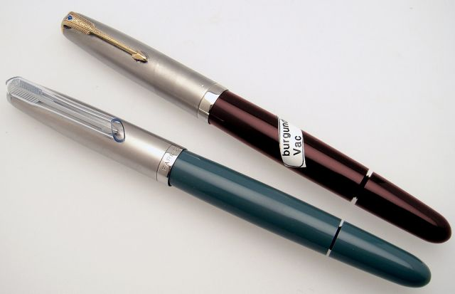 "Parker ""51""  Vac-fill pens in ""uncatalogued"" colors, the Navy Gray and Burgundy from the Aero era"
